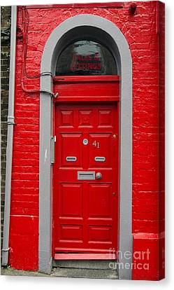 Colorful Red Door On Red Wall Canvas Print by RicardMN Photography