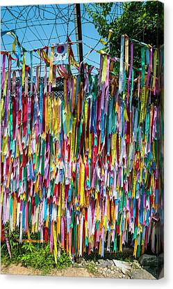 Colorful Ribbons At The High Security Canvas Print by Michael Runkel