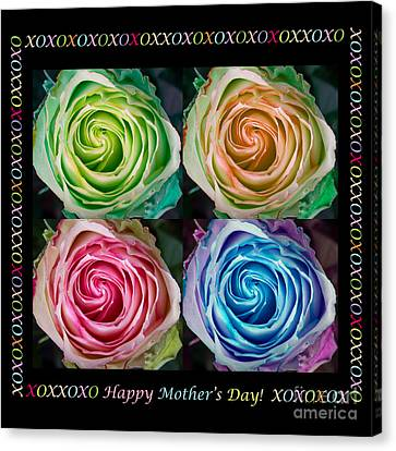 Colorful Rose Spirals Happy Mothers Day Hugs And Kissed Canvas Print by James BO  Insogna