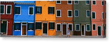 Colorful Row Houses, Burano, Venice Canvas Print