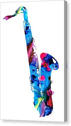 Classical Music Canvas Print - Colorful Saxophone 2 By Sharon Cummings by Sharon Cummings