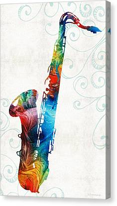 Classy Canvas Print - Colorful Saxophone 3 By Sharon Cummings by Sharon Cummings