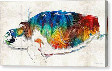 Colorful Sea Turtle By Sharon Cummings Canvas Print