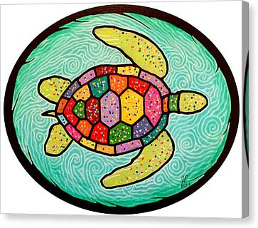 Colorful Sea Turtle Canvas Print by Jim Harris