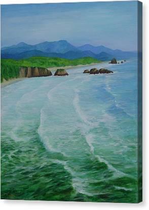 Colorful Seascape Oregon Cannon Beach Ecola Landscape Art Painting Canvas Print