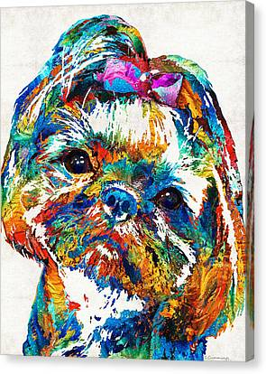 Colorful Shih Tzu Dog Art By Sharon Cummings Canvas Print