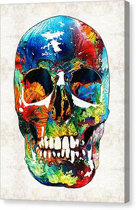 Colorful Skull Art - Aye Candy - By Sharon Cummings Canvas Print