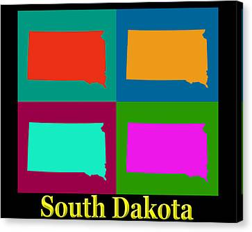 Colorful South Dakota Pop Art Map Canvas Print