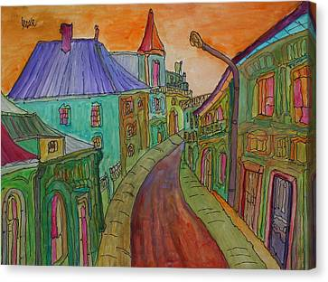 Colorful Street Canvas Print by Oscar Penalber