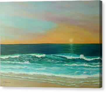 Colorful Sunset Beach Paintings Canvas Print by Amber Palomares