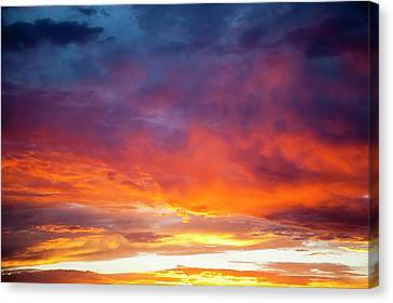 Colorful Sunset Blossoms Across A New Canvas Print by Angel Wynn