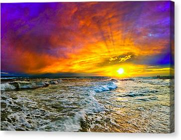 Canvas Print featuring the photograph Colorful Sunset In Destin Beach Florida With Red Clouds by eSzra