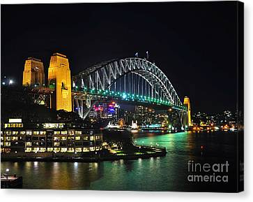 Colorful Sydney Harbour Bridge By Night 3 Canvas Print by Kaye Menner