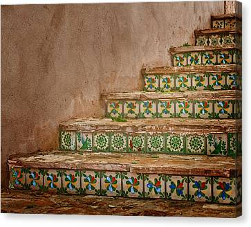Colorful Tile Steps In San Antonio Canvas Print by David and Carol Kelly