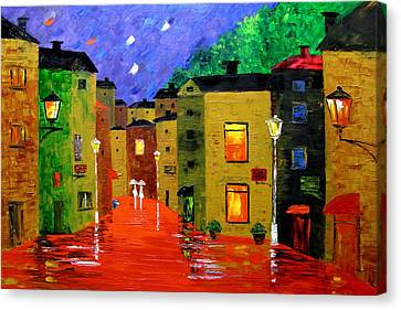 Colorful Town Canvas Print by Mariana Stauffer