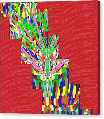 Canvas Print featuring the photograph Colorful Tree Of Life Abstract Red Sparkle Base by Navin Joshi