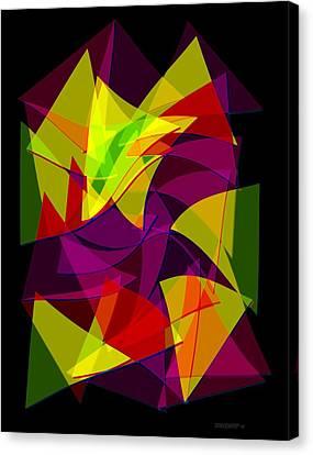 Colorful Triangles Geometric Art Designs Canvas Print by Mario Perez