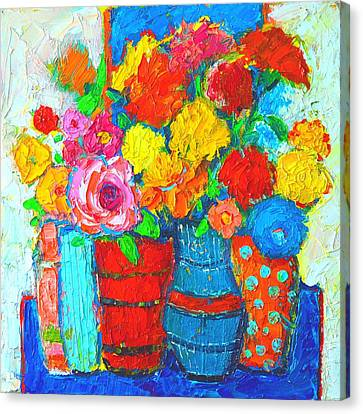 Colorful Vases And Flowers - Abstract Expressionist Painting Canvas Print