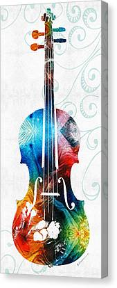Colorful Violin Art By Sharon Cummings Canvas Print by Sharon Cummings