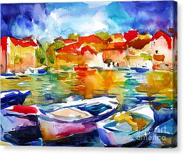Colorful Watercolor Boats European Water Scape Canvas Print by Svetlana Novikova
