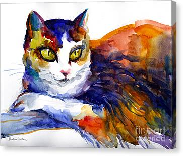 Loose Watercolor Canvas Print - Colorful Watercolor Cat On A Tree Painting by Svetlana Novikova