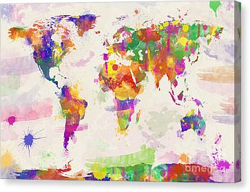 Colorful Watercolor World Map Canvas Print by Zaira Dzhaubaeva