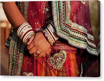 Sari Canvas Print - Colorful Wedding Costumes And Sari by Tom Norring