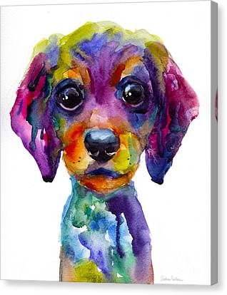 Watercolor Pet Portraits Canvas Print - Colorful Whimsical Daschund Dog Puppy Art by Svetlana Novikova