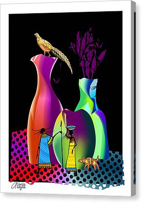 Canvas Print featuring the digital art Colorful Whimsical Stll Life by Arline Wagner