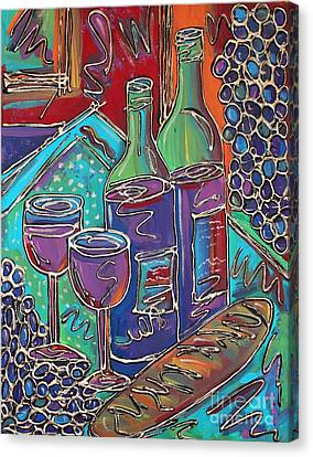 Colorful Wine Table Canvas Print
