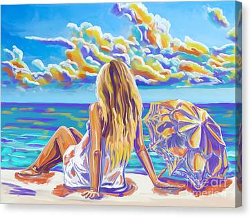 Colorful Woman At The Beach Canvas Print