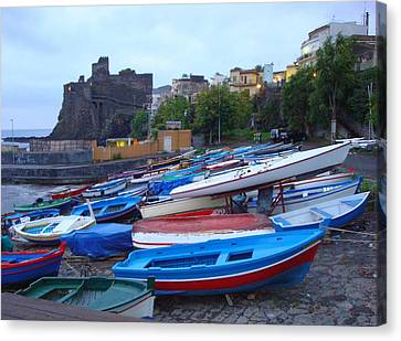 Colorful Wooden Fishing Boats Of Aci Castello Sicily With 11th Century Norman Castle Canvas Print by Jeff at JSJ Photography