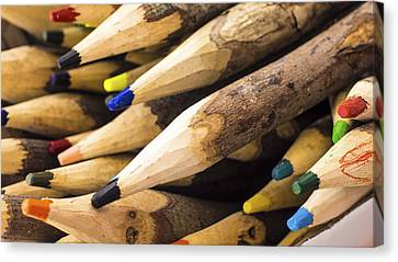Pencil Sketch Canvas Print - Colorful Wooden Pencil by Aged Pixel