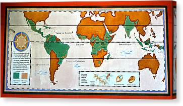 Colorful World Map Of Coffee Canvas Print by David Lee Thompson
