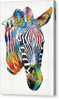 Colorful Zebra Face By Sharon Cummings Canvas Print by Sharon Cummings