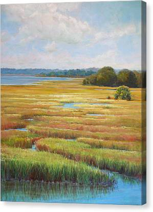 Canvas Print featuring the painting Colors In The Marsh by Pam Talley