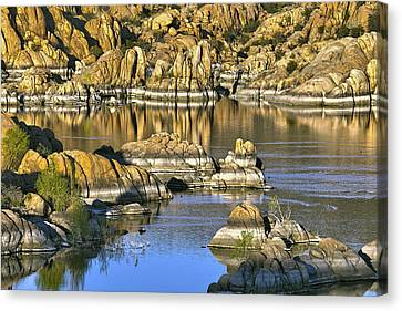 Colors In The Rocks At Watsons Lake Arizona Canvas Print by James Steele