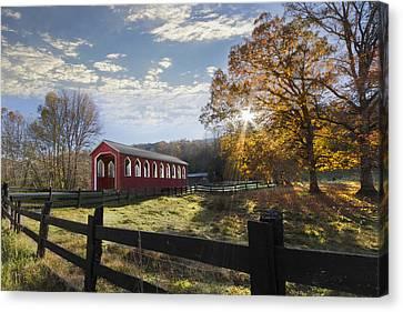 Tn Barn Canvas Print - Colors Of Autumn by Debra and Dave Vanderlaan