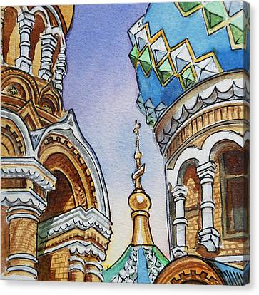 City-scapes Canvas Print - Colors Of Russia St Petersburg Cathedral II by Irina Sztukowski