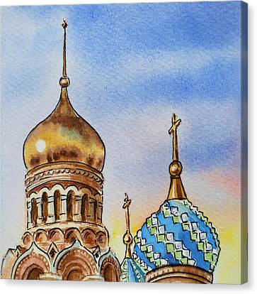 City-scapes Canvas Print - Colors Of Russia St Petersburg Cathedral Iv by Irina Sztukowski