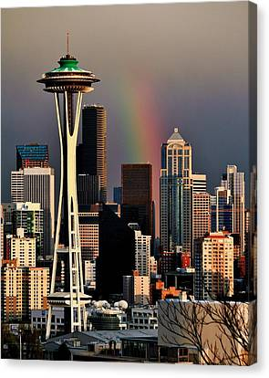 Colors Of Seattle Canvas Print by Benjamin Yeager