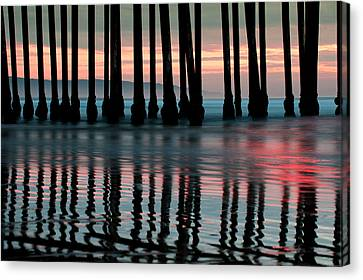 Canvas Print featuring the photograph Reflections Under The Pier - Pismo Beach California by Gregory Ballos