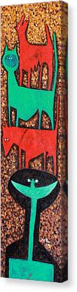 Colos Stacked Animals Turquoise Smile  Canvas Print by Mark M  Mellon