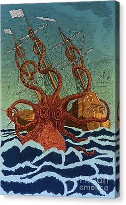 Colossal Octopus Attacking Ship 1801 Canvas Print by Science Source