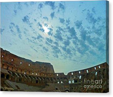Canvas Print featuring the photograph Colosseum At Dusk - Rome by Cheryl Del Toro