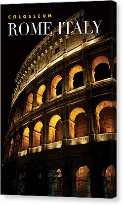 Colosseum At Night Canvas Print by Ron Sumners