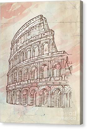 Colosseum Hand Draw Canvas Print