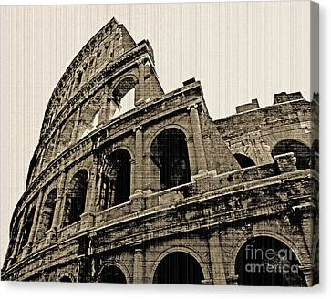 Canvas Print featuring the photograph Colosseum Rome - Old Photo Effect by Cheryl Del Toro
