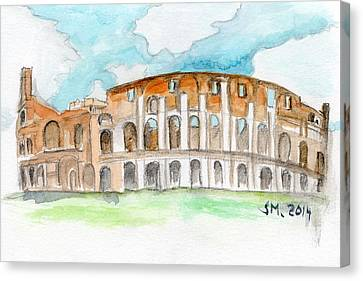 Colosseum Watercolour Sketch Canvas Print by Sophie McAulay