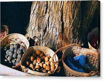 Canvas Print featuring the photograph Coloured Baskets by Cassandra Buckley
